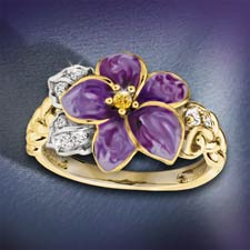 The Concorde Collection Violets In The Snow Enameled Ring