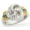 Irish Love Knot Diamond and Emerald Ring
