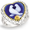 Kiss of the Snow Doves Cameo Ring