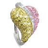 3 3/4 Carat Multi-Color Cubic Zirconia Sterling Silver Ring