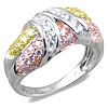 2 Carat Multi-Color Cubic Zirconia Sterling Silver Ring
