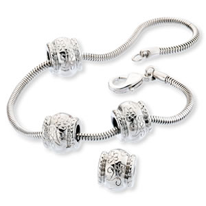 Silver Plated Charm Bracelet & Spacer Beads