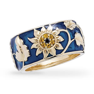 The Concorde Collection Jeweled Sunflower Ring Genuine