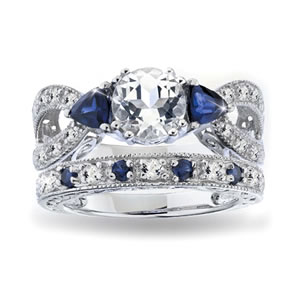 The Concorde Collection Royal Sapphire Wedding Set Sparkling White