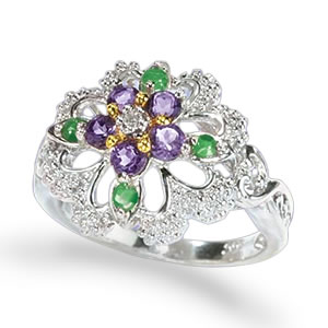 The Concorde Collection Violets In The Snow Ring Emeralds Diamond