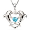 Dolphin Heart Diamond Pendant