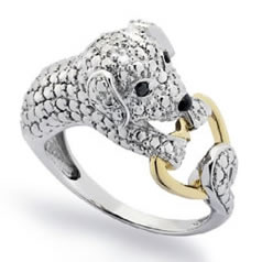 Jeweled Puppy Love Ring