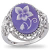 Violets In The Snow Cameo Ring