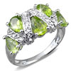 3 1/2 Carat Peridot and White Topaz Sterling Silver Ring